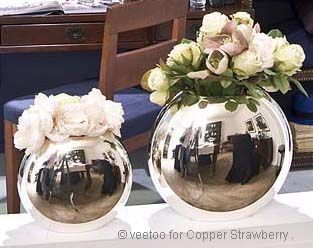 Flamant Argento Round Vase Silverplated 2 Sizes. Would love these. So elegant.