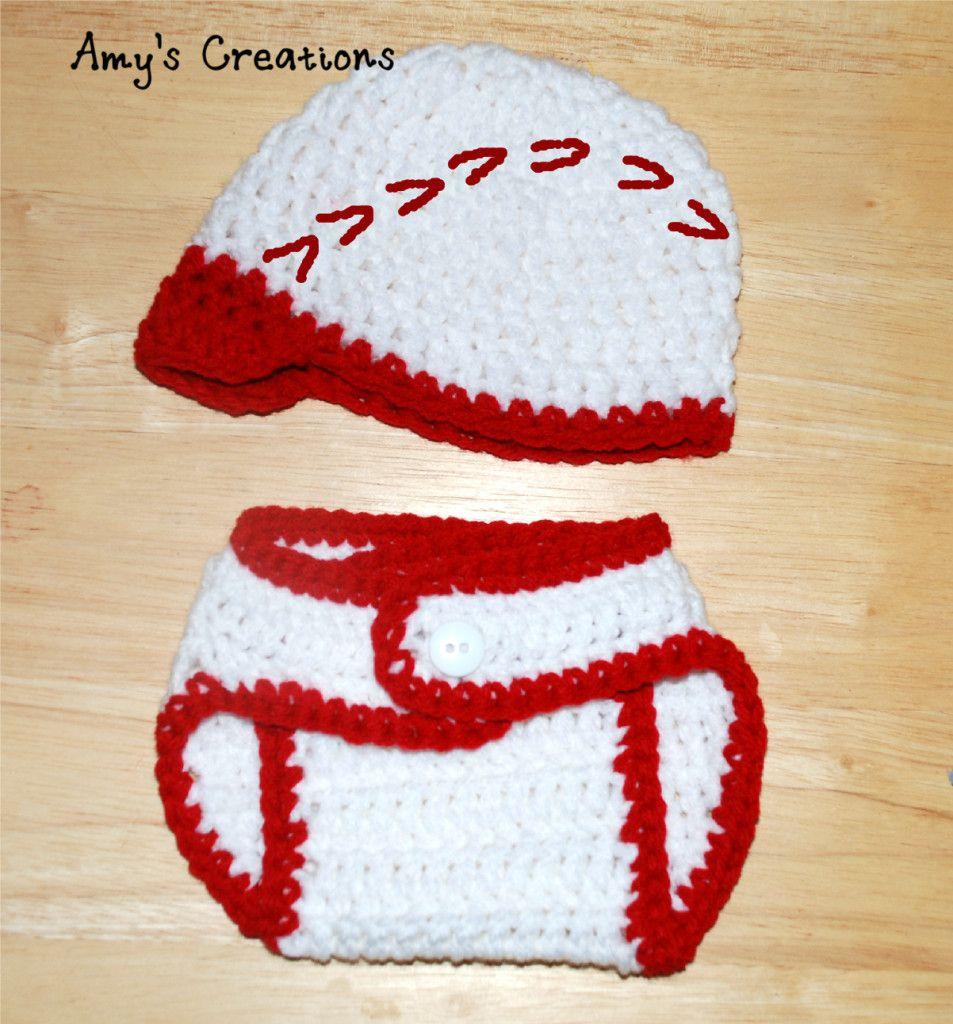 Crochet Baseball Hat & Diaper Cover Sizes (0-3 Months) | Pinterest ...