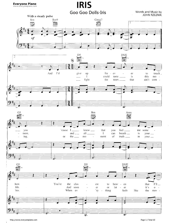 Free Iris City Of Angels Goo Goo Dolls Piano Sheet Music Preview 1