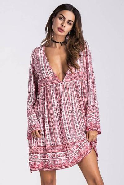 fabc280e7e Boho Chic Sundress Tunic V Neck Mini Dress – Simple Craze