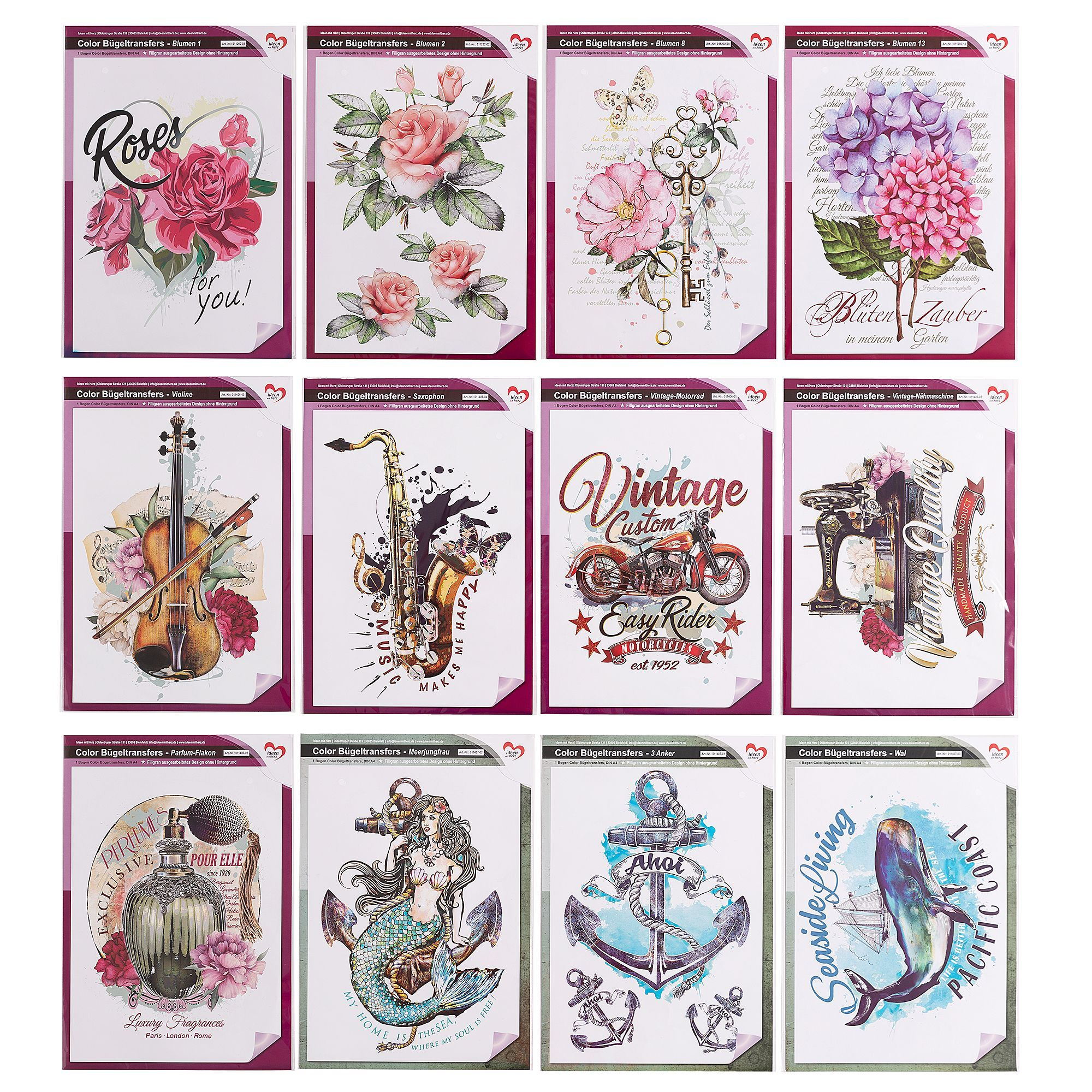 Karin Jittenmeier Textildesign Color Bugeltransfers Verschiedene Motive 12tlg Online Bestellen Bei Qvc De Textildesign Textil Karin Jittenmeier