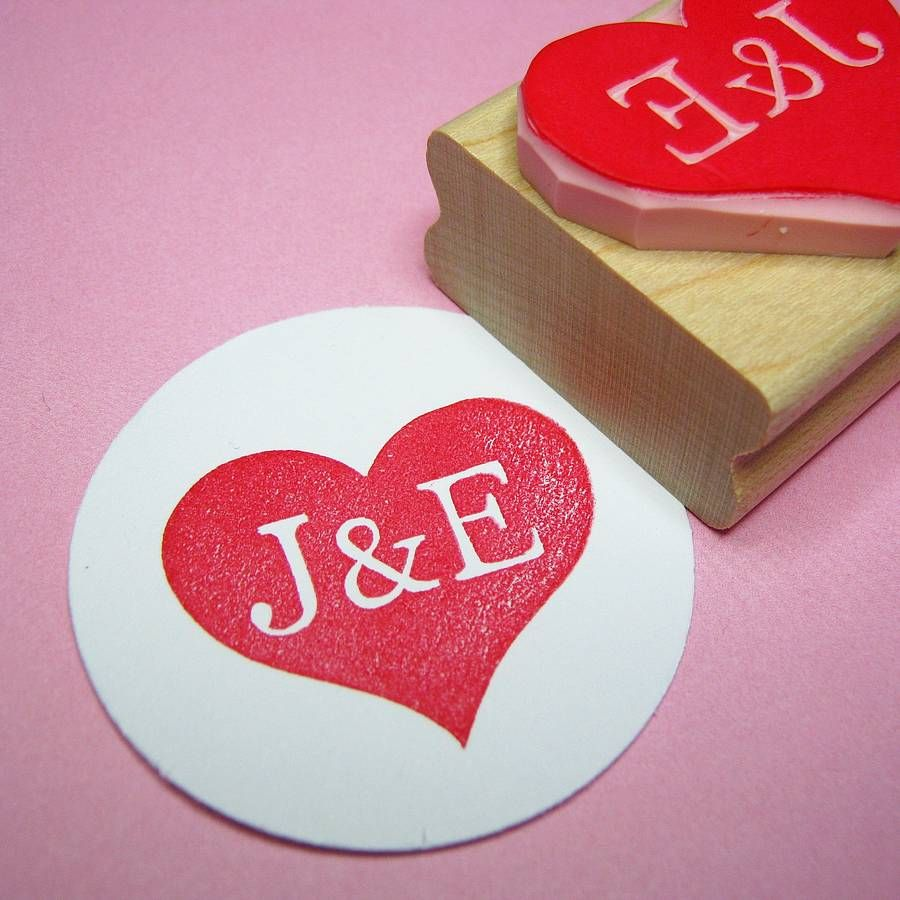 Personalised Heart Wedding Rubber Stamp Gift | Heart hands, Hand ...