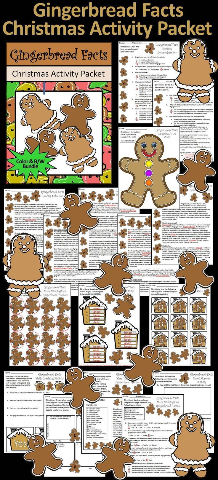 gingerbread activities gingerbread facts christmas reading activity packet