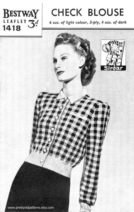 Ladies Check Fair Isle Jumper Blouse Bust 36 Bestway 1418 Vintage ...