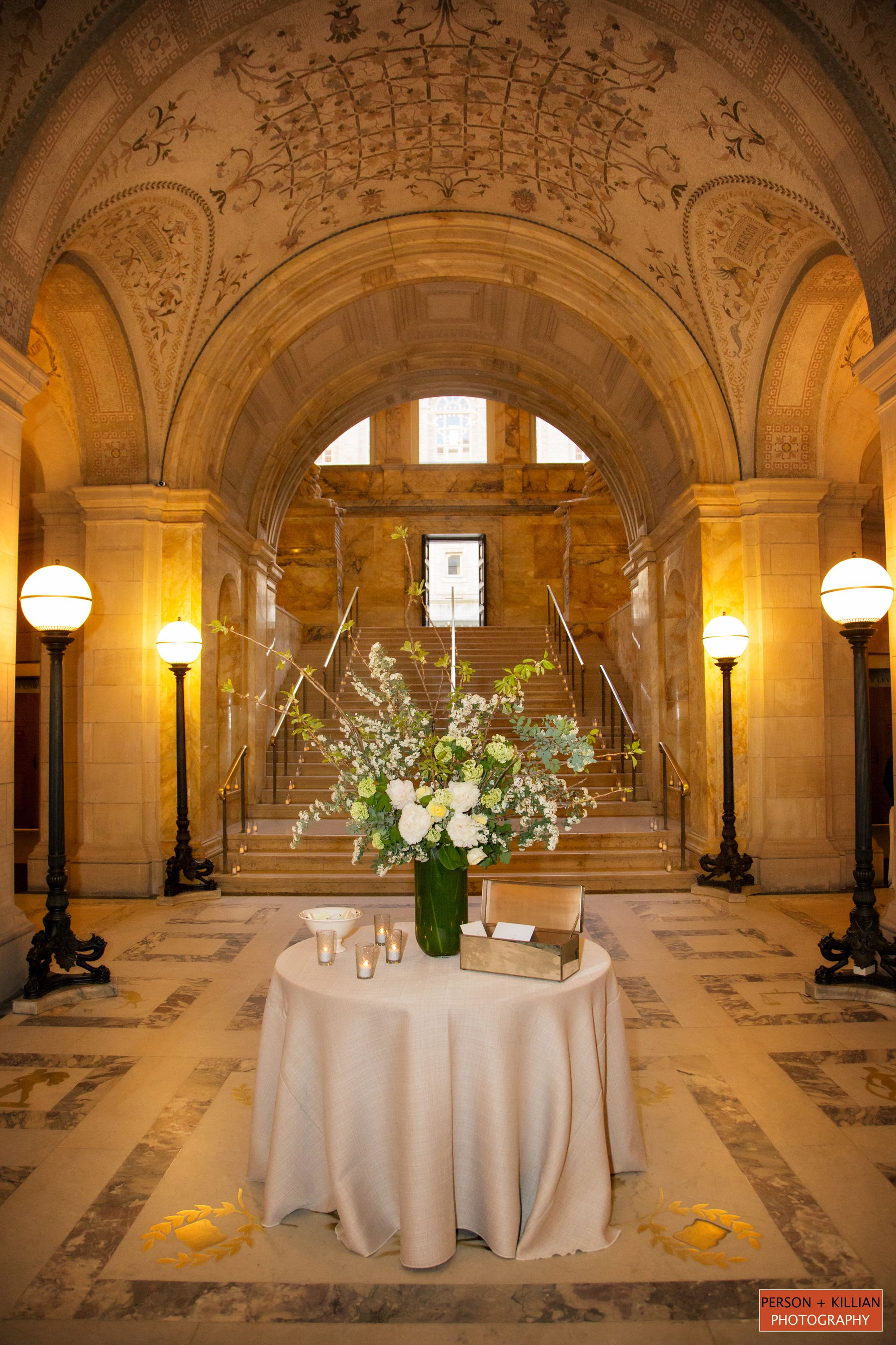 Boston Public Library Wedding, Flowers By Table U0026 Tulip, Classic Wedding  Inspiration, Green And White Wedding Flower Inspiration, Large Floral  Centerpiece, ...