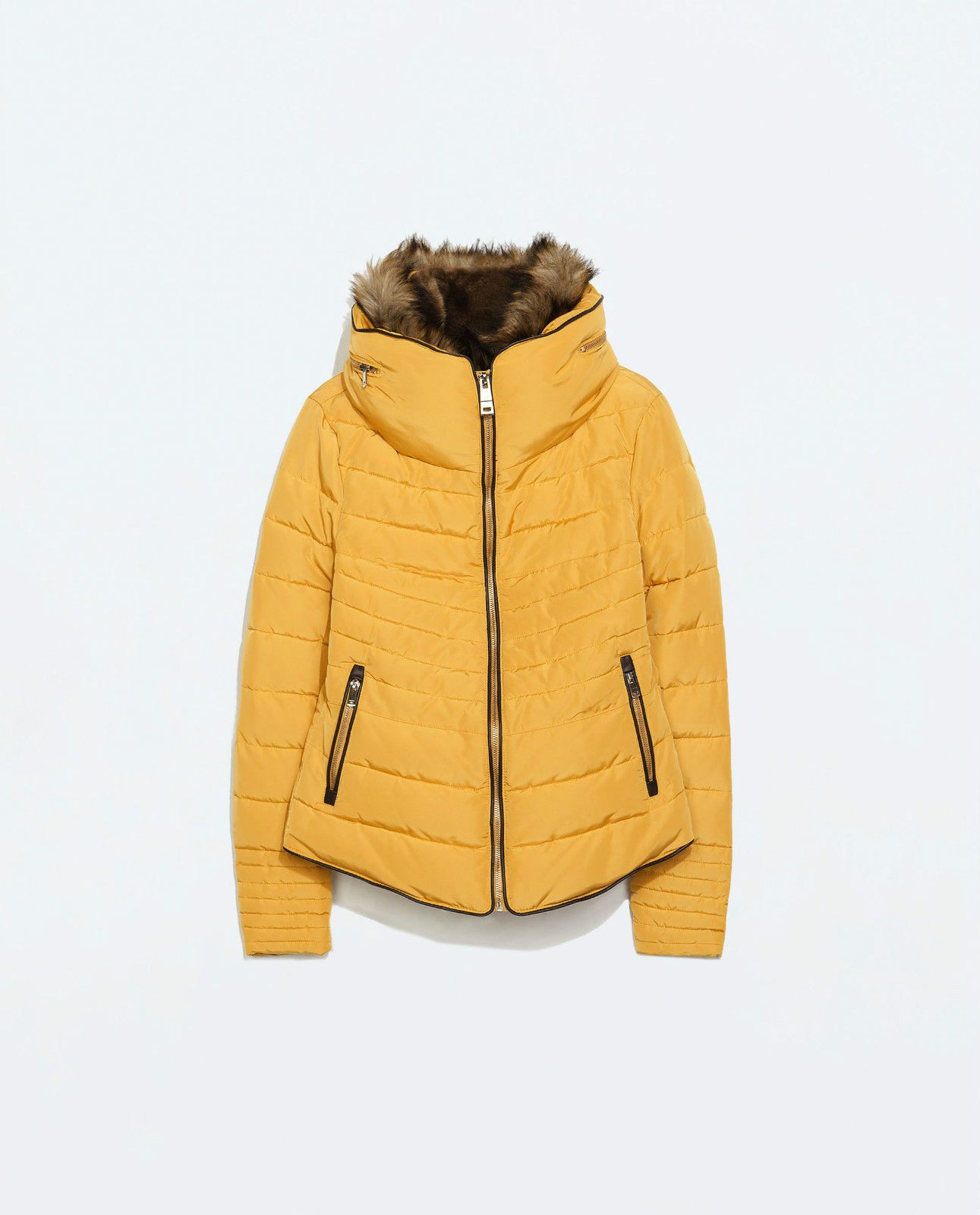 3b4b74026 ZARA MUSTARD YELLOW QUILTED PADDED WINTER JACKET FUR COLLAR SIZE L ...