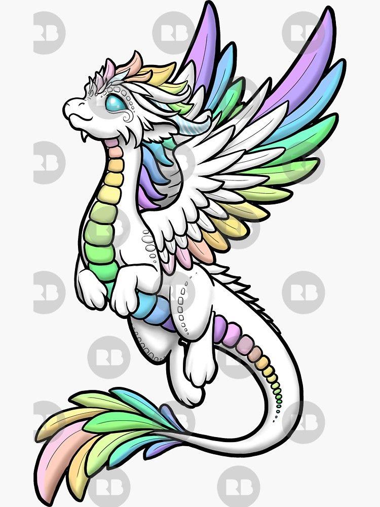 Rainbow Angel Dragon Sticker By Rebecca Golins Easy Dragon Drawings Cute Dragon Drawing Dragon Artwork