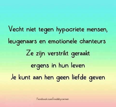 vecht niet tegen hypocriete mensen, leugenaars en emotionele