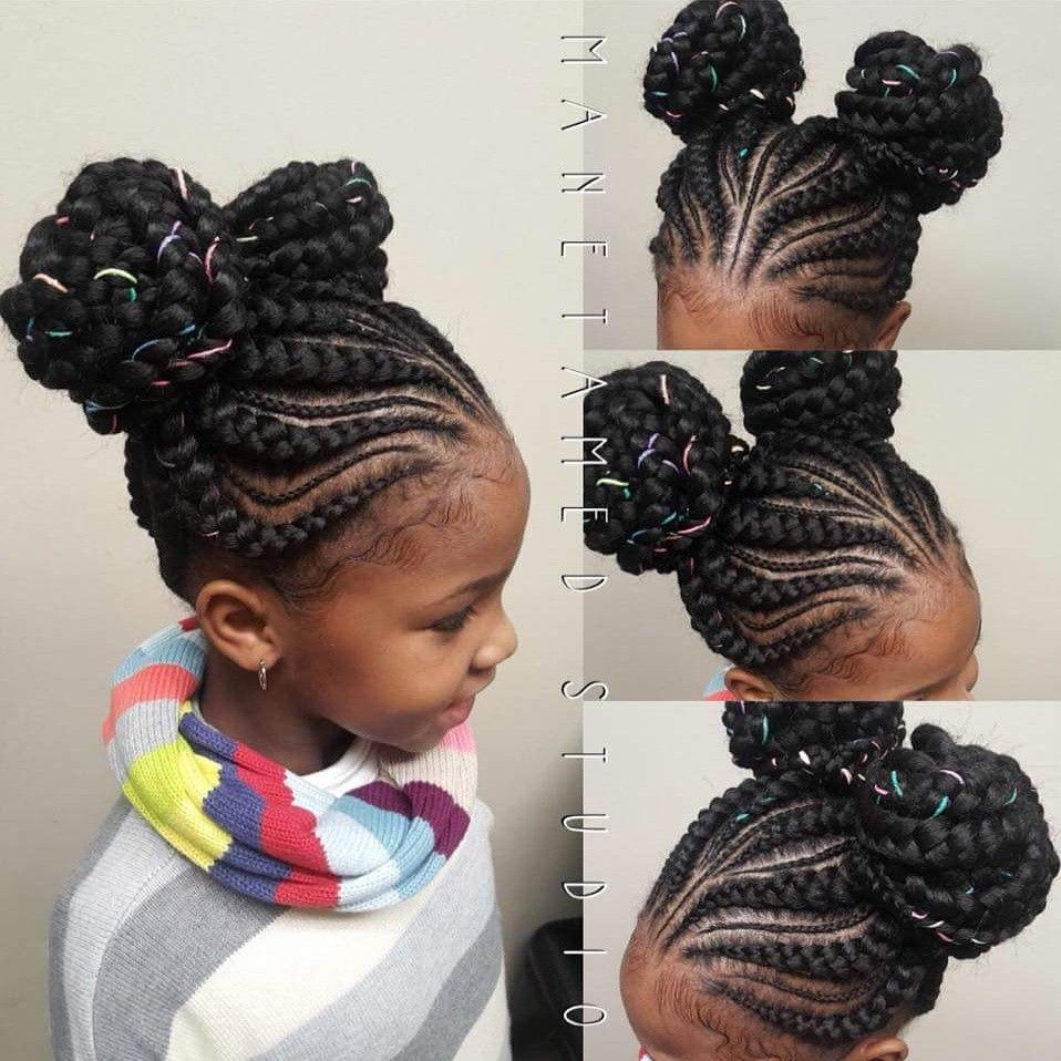 Feed In Braids With Minis Double Bun Braids Double Bun Braids Two Buns Unicorn Buns Kids Style Hair Styles Girls Hairstyles Braids Braided Bun Hairstyles