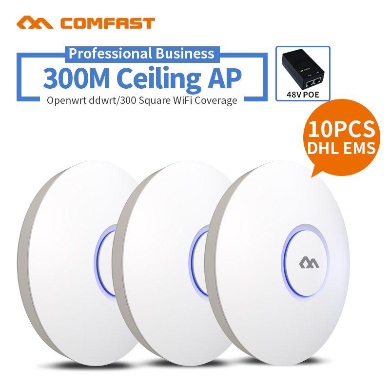 10ピース300 Mbps Wifiアクセスポイント2 4グラム屋内天井マウントアクセスポイントの無線lanリピータルータ48 Poe Ap制御管理 Wireless Routers Router Wifi