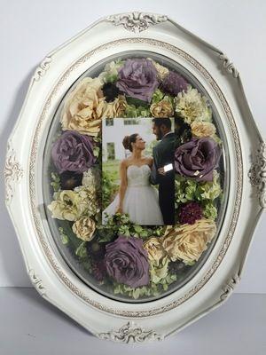 Dried Wedding Flowers with wedding photo