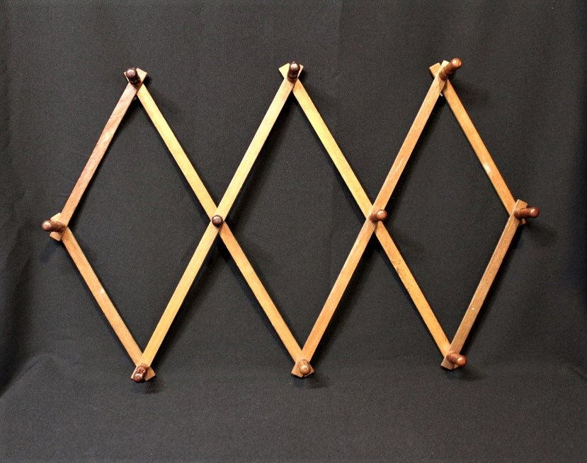 Wood Expandable Folding 10 Peg Wall Hanging Rack Coat Hat Purse Leashes Robe Vintage Accordian Style Wooden Hanger Retro S Peg Wall Wooden Hangers Wall Hanging