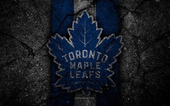 Download Wallpapers 4k Toronto Maple Leafs Logo Hockey Club Nhl Black Stone Eastern Conference Usa Asphalt Texture Hockey Atlantic Division Toronto Maple Leafs Toronto Maple Leafs Logo Asphalt Texture
