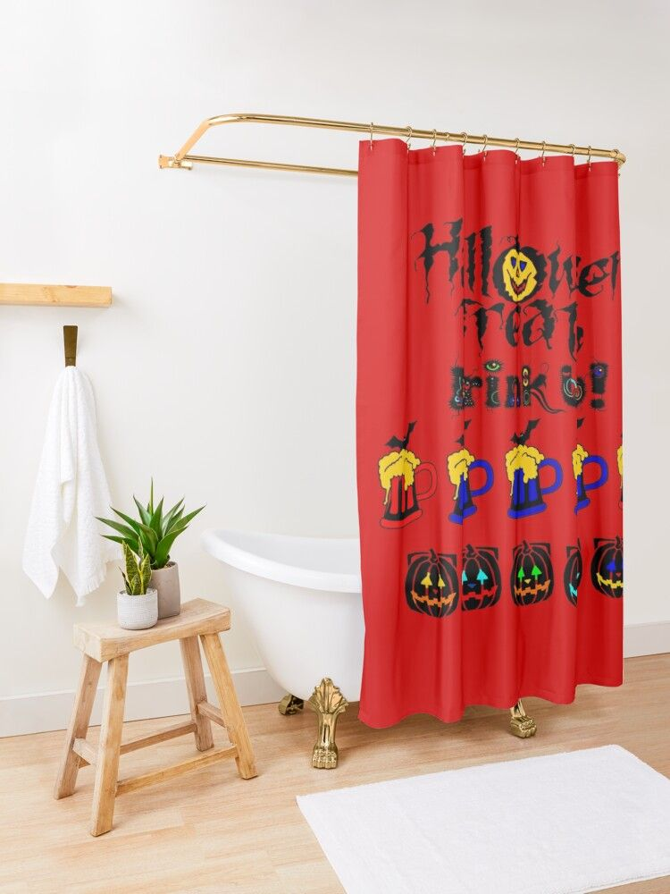 Halloween Treats Bat Beer Drink Up Shower Curtain By