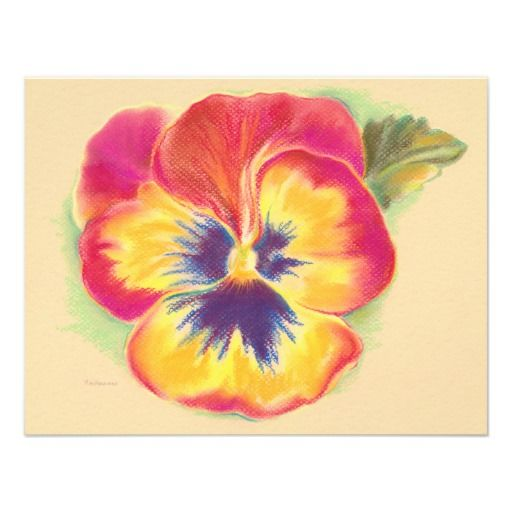 Pansy Drawing | Pansy Bright Pastel Drawing Personalized Invitation from Zazzle.com