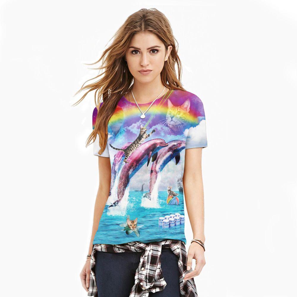 dc9aad84 2017 Fashion T-shirts Rainbow Dolphin Wholesale Blue Sky 3D Print Tees Lady  Tops Animal
