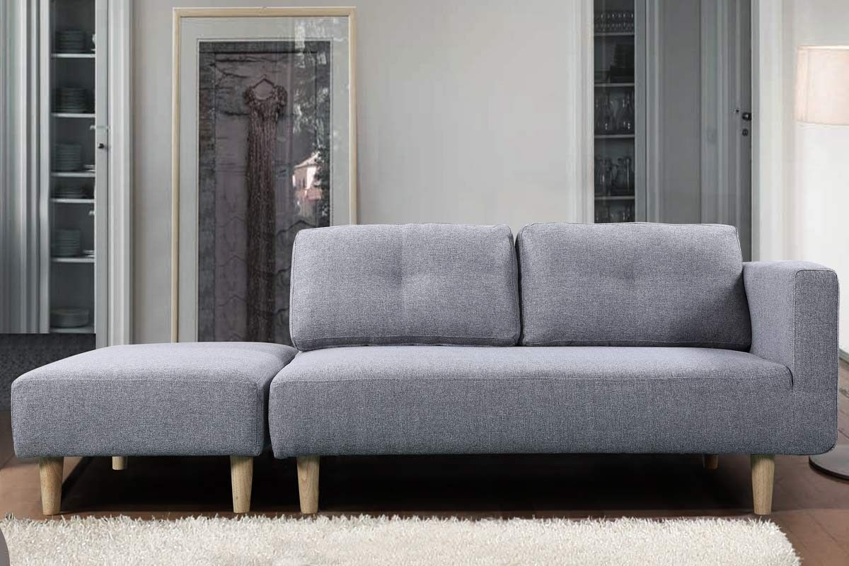 Cavendish Light Grey Fabric Modern 2 Seater Sofa Footstool 2 Seater Sofa Grey Fabric Footstool