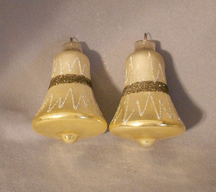 1960s Vintage Germany Silver And Gold Bells Blown Glass Christmas Ornaments Set Glass Christmas Ornaments Blown Glass Christmas Ornaments Christmas Ornaments