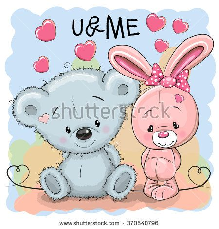 Cute bear and rabbit girl on a blue background baby pinterest cute bear and rabbit girl on a blue background voltagebd Image collections