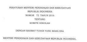 Download Permendikbud No 75 Tahun 2016 Tentang Komite Sekolah Saipul Hendra Sekolah