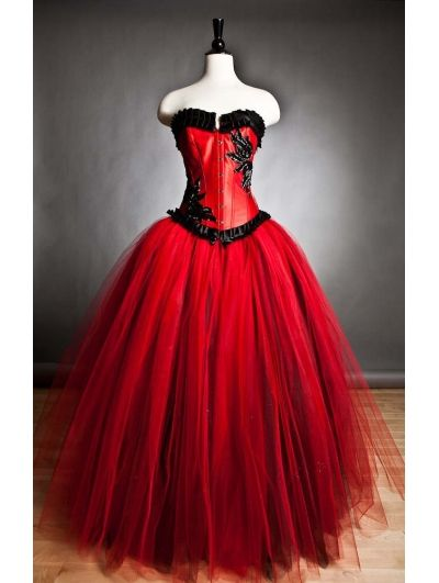 Red And Black Romantic Gothic Corset Prom Gown Devilnight
