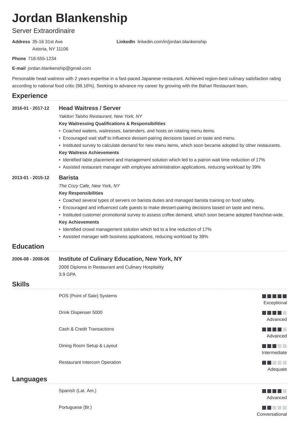 Food Service Resume Template Nanica Resume Examples Job Resume Examples Resume Skills