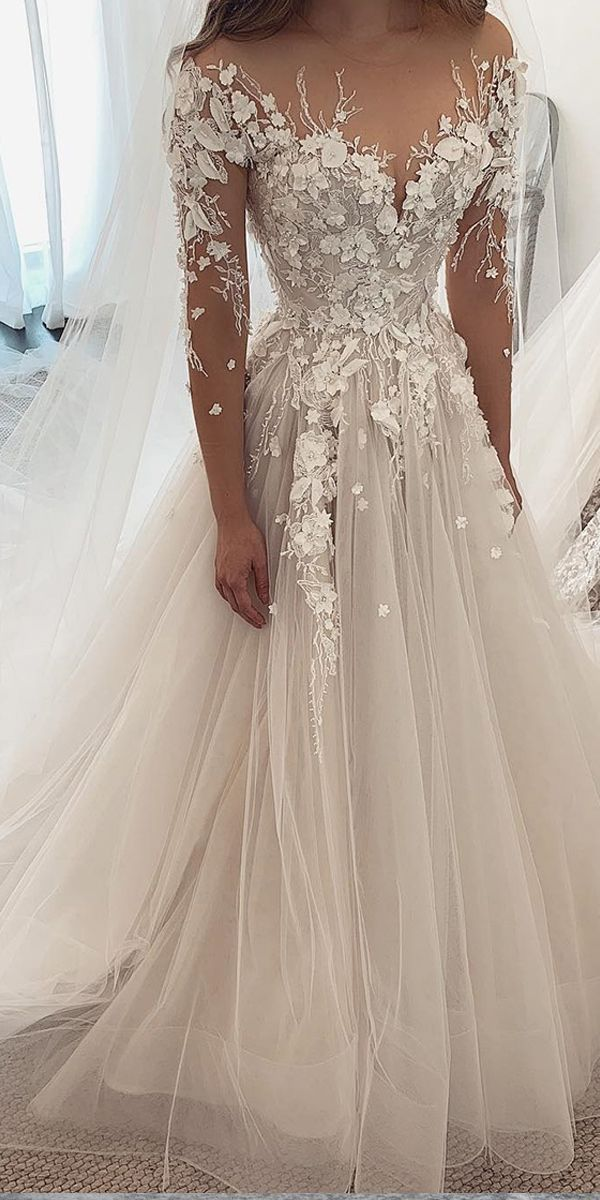 Photo of [248.50] Alluring Tulle Jewel Neckline A-line Wedding Dresses With Lace Appliques & 3D Flowers & Beadings