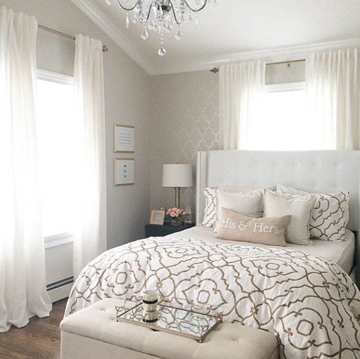 Bedroom idea taupe and white everything Mixed textures, chevron
