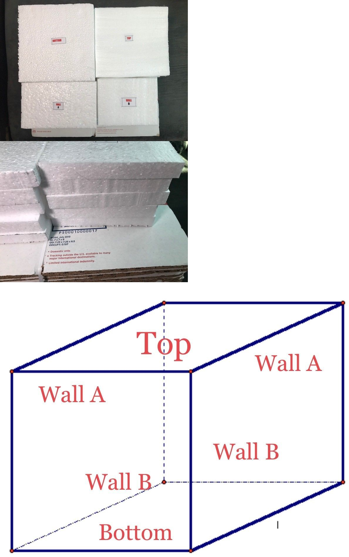 Details about 30 heavy duty styrofoam liners fit 7x7x6
