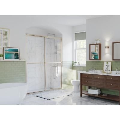 Coastal Shower Doors Paragon 64 in. to 65.5 in. x 70 in. Framed Sliding Shower Door with Towel Bar in Brushed Nickel and Clear Glass-1864.70N-C - The Home Depot