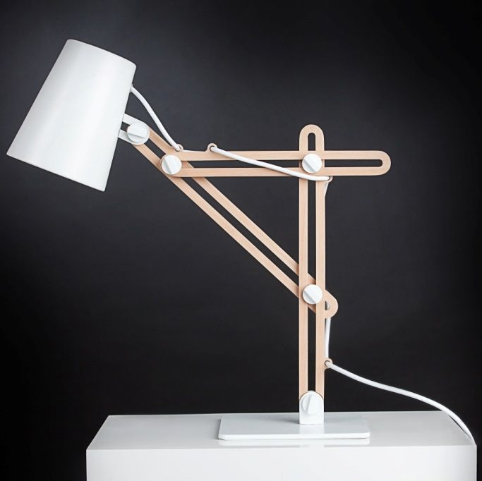 Lampe De Bureau Blanche Et Bois Lampe De Bureau Lampe Design Idee Luminaire