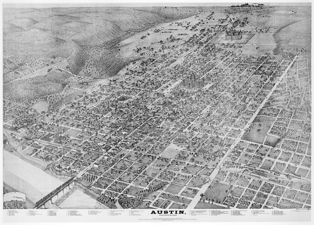 Birds eye map of Austin showing downtown