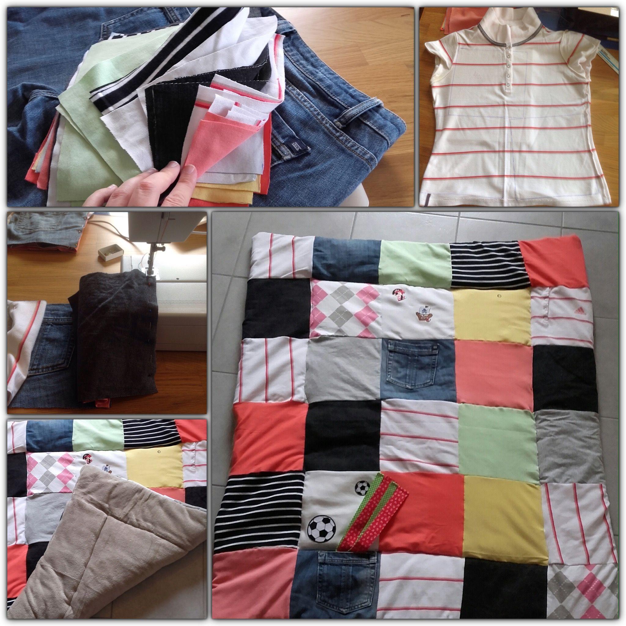 Krabbeldecke/ Patchwork Decke aus alt mach neu -> meine alten T Shirts und Hosen