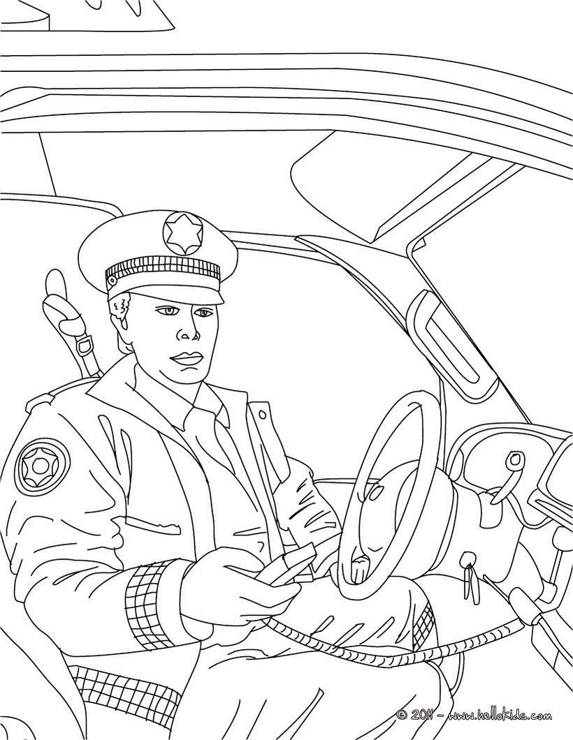 police car coloring pages policeman in his police car in