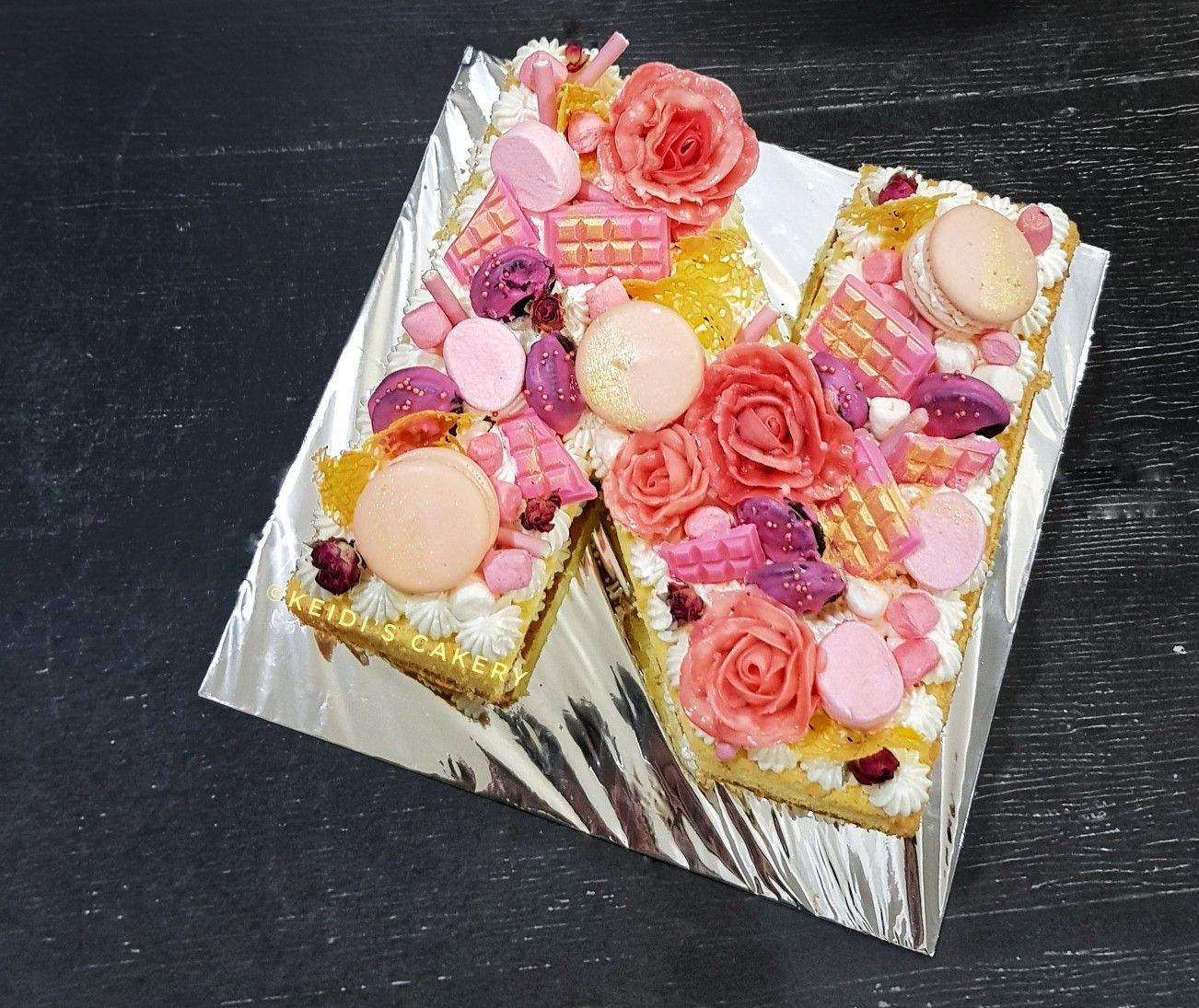Alphabet Monogram Cake Letter N Cake Lettering Monogram Cake Flamingo Cake