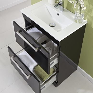 Milano 600mm Floor Standing 2 Drawer Vanity Unit Gloss Black Bathroom Vanities Bathroom