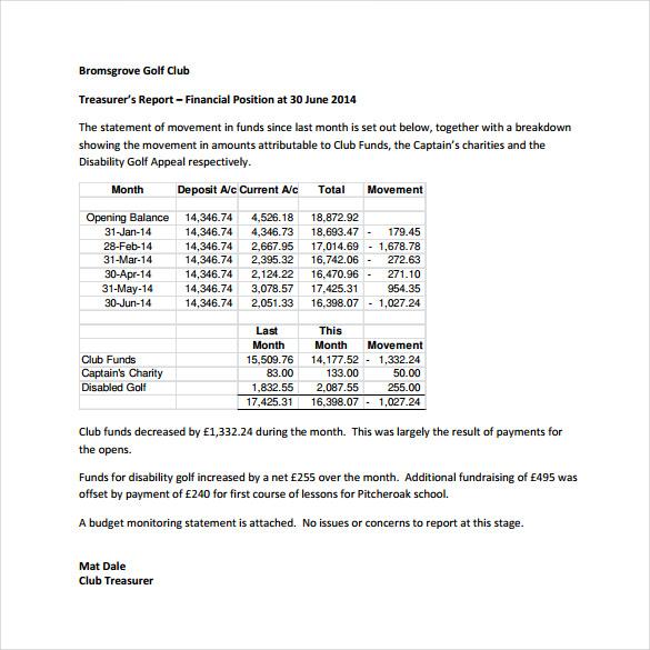 Treasurer Report Template 3 Professional Templates