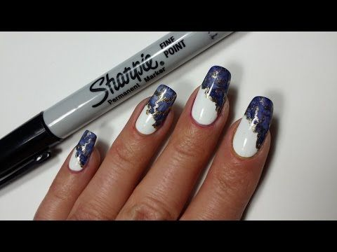 Sharpie Nail Art | Marble Side French Manicure - YouTube ...