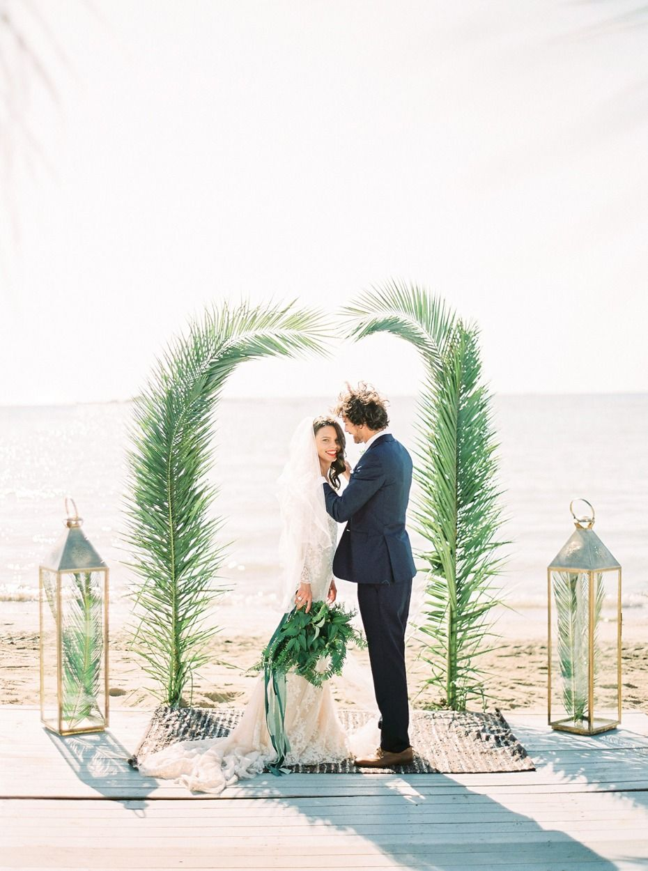 Green And Gold Island Style Beach Wedding In Athens Wedding