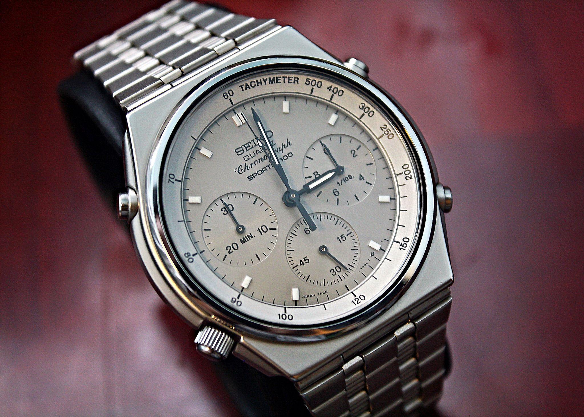 7308ebbd64f Vintage Watches · Chronograph · Omega Watch · Rolex · The 100 · SEIKO  QUARTZ SPORTS 100 Chronograph 7A28-7079