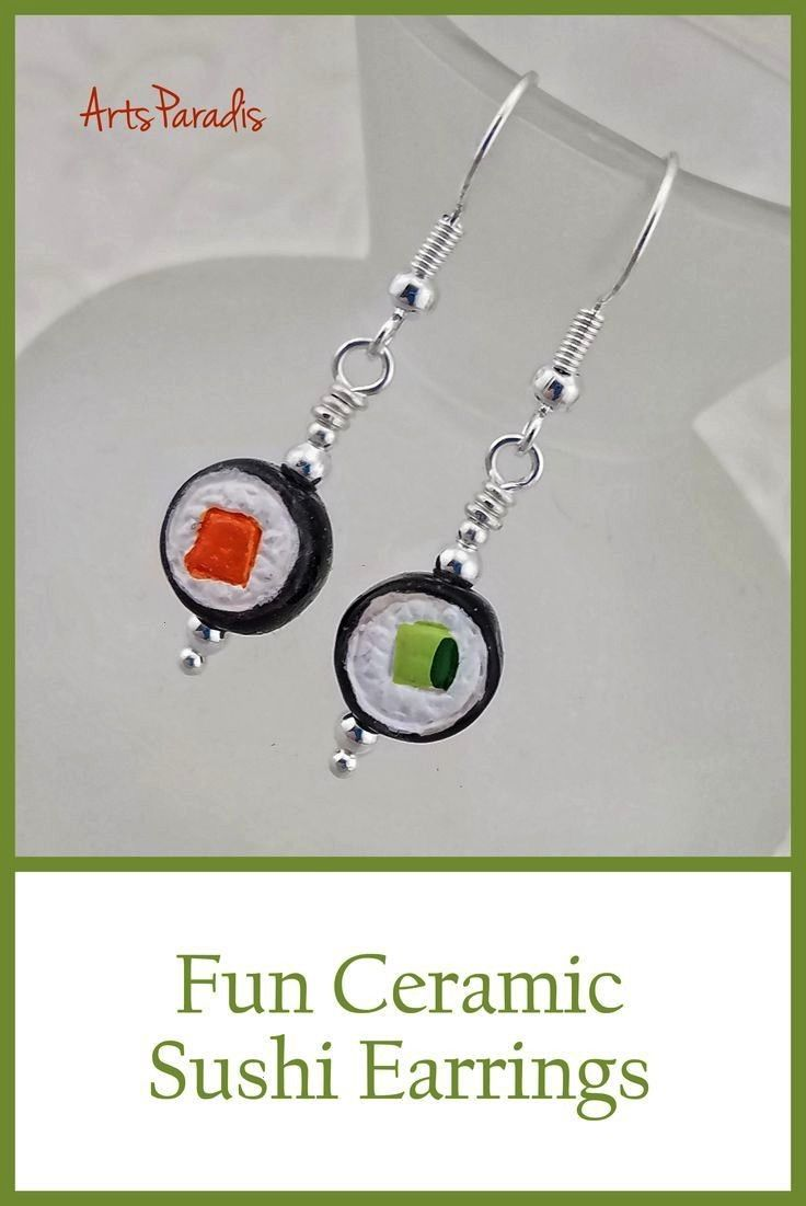 Sushi Roll Maki Orange and Green Japanese Seafood Ceramic Drop Earrings by ArtsParadis Click to see more pictures in my shop or buy nowTiny Sushi Roll Maki Orange and Gre...