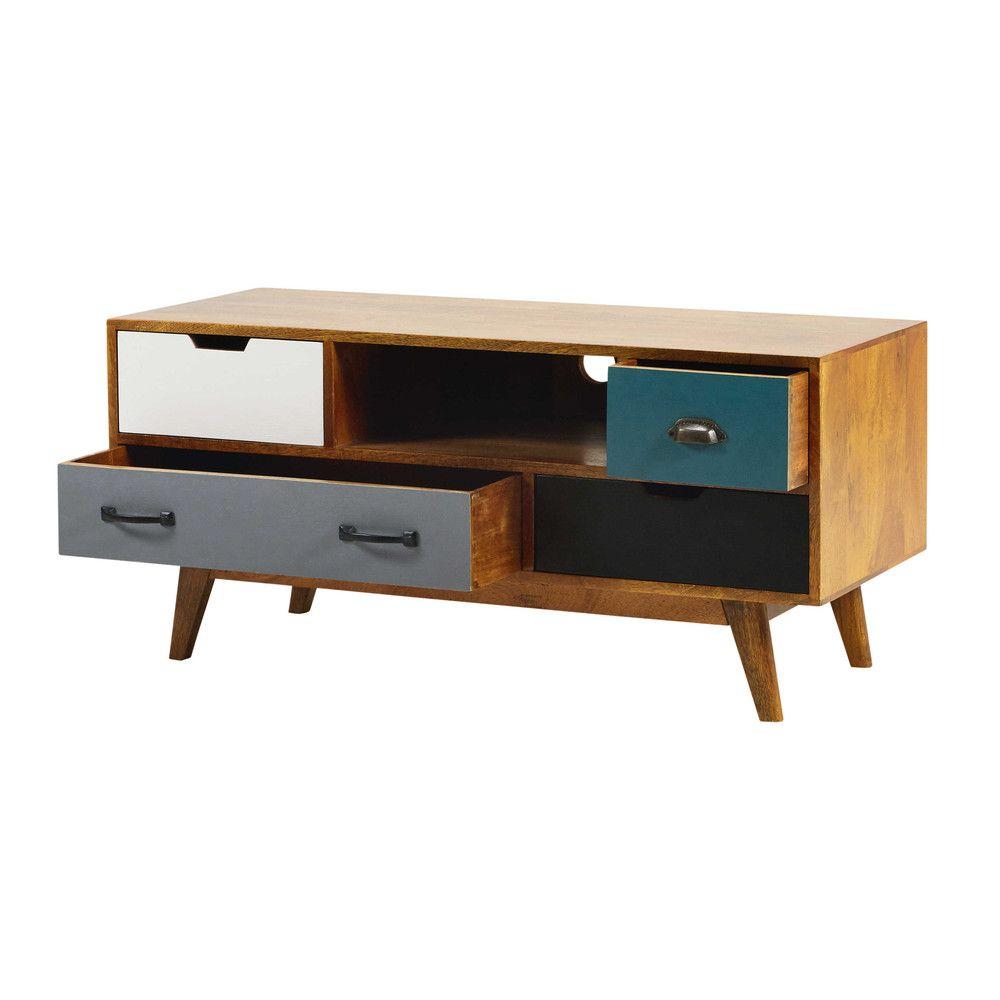 meuble tv 4 tiroirs en manguier massif