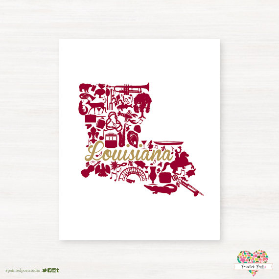 This Is A Fun Louisiana Print Using Maroon And Gold This