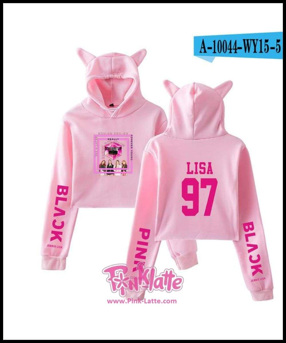 614b2879e977f1 Kpop BLACKPINK Kawaii Cat Ear Hoodies Women Kpop Fans Support Sweatshirt  Ladies BLACKPINK Letter Print Crop Tops Clothes Tops