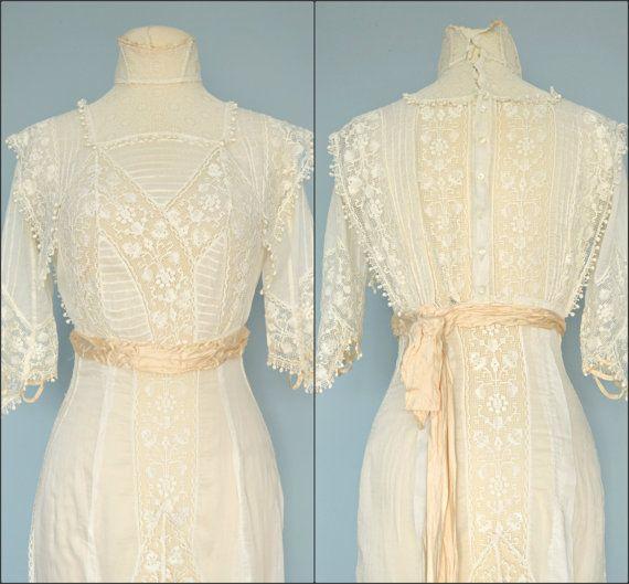 Vintage Edwardian Wedding Dress...Beautiful Semi Sheer Ivory Batiste ...