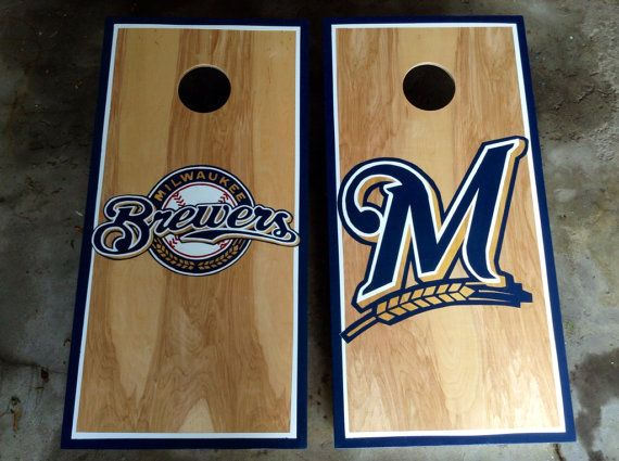 Peachy Milwaukee Brewers Cornhole Boards Cornhole Designs Gmtry Best Dining Table And Chair Ideas Images Gmtryco
