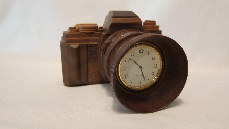 {handmade wood camera clock} designed after a Minolta x-700.