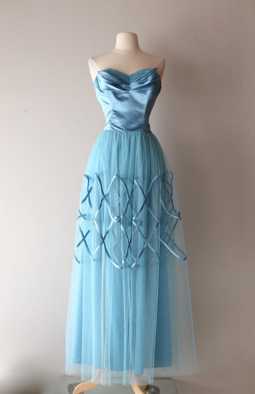 Vintage 1950\'s Blue Prom Dress ~ Vintage 50s Satin Rings Light Blue ...