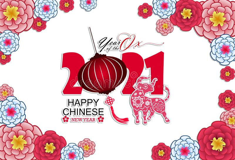 Happy Chinese New Year 2021 Year Of The Ox Flower And Asian Elements With Craft Style On Background In 2020 Happy Chinese New Year Chinese New Year Japanese New Year