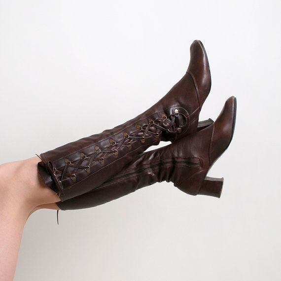 Vintage Leather Boots  Chocolate Brown Corset Laced 1970s by zwzzy, $55.00